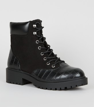 New Look Suedette Faux Croc Chunky Hiker Boots
