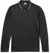 Brioni Cotton and Silk-Blend Piqué Half-Zip Polo Shirt