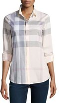 Burberry Long-Sleeve Check Shirt, Pink