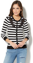 New York & Co. 7th Avenue - Lace-Accent Crewneck Chelsea Cardigan - Stripe