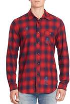 Hudson Men's Long Sleeve Plaid Distressed Shirt