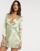 Asos Design DESIGN wrap mini dress in high shine satin