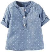 Carter's Baby Girl Polka-Dot Chambray Woven Shirt