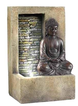 """Ore International 9.5"""" H Resin Buddha Tabletop Outdoor Fountain - Brown"""