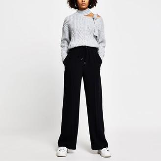 River Island Womens Black jogger waist wide leg trousers