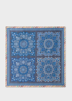 Men's Blue Paisley Print Silk Pocket Square With 'Signature Stripe' Border