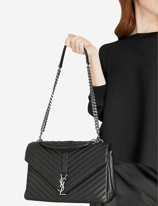 Saint Laurent Monogram College quilted-leather satchel