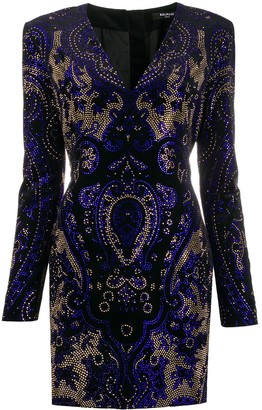 Balmain Rhinestone-Embellished Short Dress
