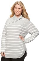 Croft & Barrow Plus Size Striped Cowlneck Sweater