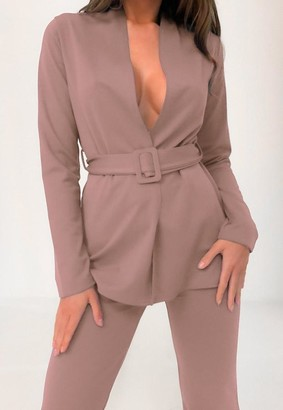 Missguided Stone Co Ord Belted Blazer