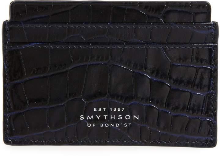 Smythson Mara Tiered Croc Embossed Leather Card Holder