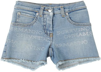 Ermanno Scervino Stretch Denim Shorts W/ Logo