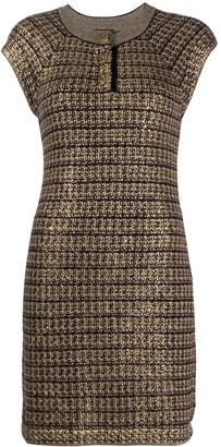 Chanel Pre Owned Metallic Tweed Dress