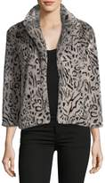 Cupcakes And Cashmere Belle Collared Faux-Fur Leopard-Print Jacket
