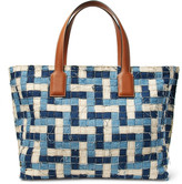 Loewe T Leather-Trimmed Woven Denim Tote Bag