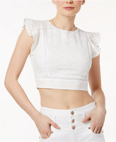 J.o.a. Cotton Eyelet Lattice-Back Crop Top