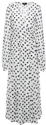 De La Vali Polka-dot Swiss-dot Georgette Maxi Wrap Dress