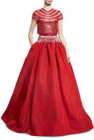 Naeem Khan Beaded Fringe Cap-Sleeve Ball Gown, Red