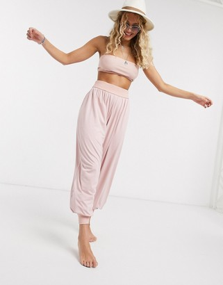 ASOS DESIGN jersey elastic beach harem pants two-piece in dusky pink