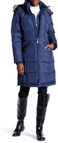 Ellen Tracy Detachable Faux Fur Trim Hood Belted Down Coat