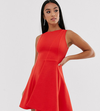 Asos DESIGN Petite seamed fold detail skater mini dress-Red