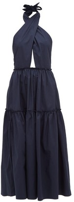 Marios Schwab On The Island By Rainha Crossover Halterneck Cotton-poplin Dress - Womens - Navy