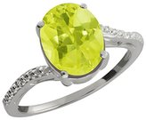Gem Stone King 1.36 Ct Oval Yellow Lemon Quartz and White Topaz 14k White Gold Ring