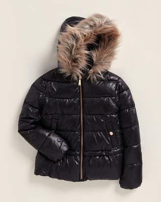MICHAEL Michael Kors Girls 4-6x) Metallic Faux Fur Hood Puffer Jacket