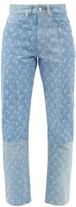 Marine Serre Logo-print Recycled Cotton-denim Trousers - Denim