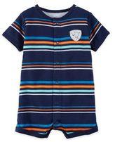 "Carter's Boy's Short Sleeve ""Wild One"" Striped Romper in Blue"