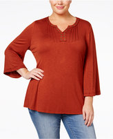 Style&Co. Style & Co. Plus Size Grommet-Trim Top, Only at Macy's