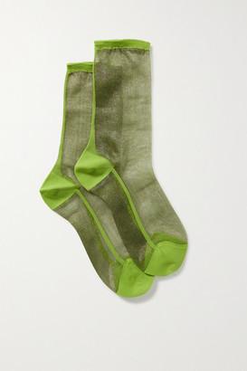 Maria La Rosa Golf Two-tone Tulle Socks - Green
