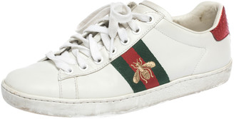 Gucci White Leather Ace Embroidered Bee Low Top Sneakers Size 36