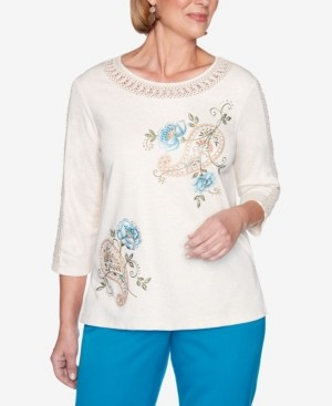 Alfred Dunner Women's Colorado Springs Paisley Floral Embroidery Top