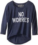 The Original Retro Brand Kids - No Worries 3/4 Dolman Pullover Girl's Clothing