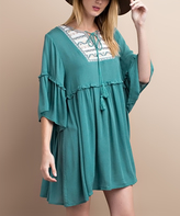 Jane Vintage Jade Bell-Sleeve Swing Dress