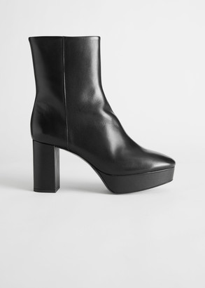 And other stories Leather Platform Heeled Ankle Boots