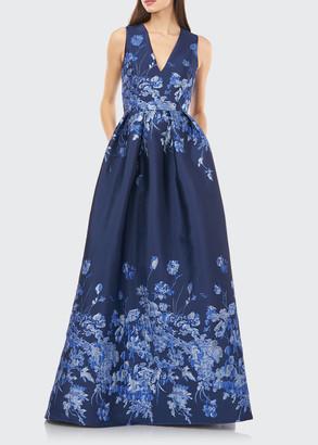 Carmen Marc Valvo V-Neck Sleeveless Border Jacquard Ball Gown