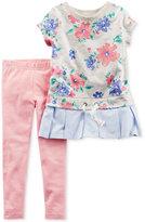 Carter's 2-Pc. Floral-Print Peplum Tunic & Leggings Set, Baby Girls (0-24 months)