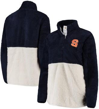 Women's Navy/Cream Syracuse Orange Fuzzy Fleece Colorblocked Four-Snap Pullover Jacket
