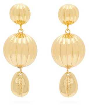 Rebecca De Ravenel Be Charmed Gold-plated Drop Clip Earrings - Womens - Gold