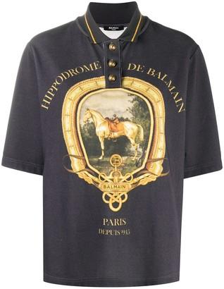 Balmain Printed Cotton Polo Shirt