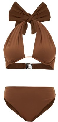 Fendi Bow Halterneck High-rise Bikini - Dark Brown