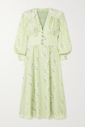 Alessandra Rich Lace-trimmed Floral-print Silk Crepe De Chine Midi Dress - Green