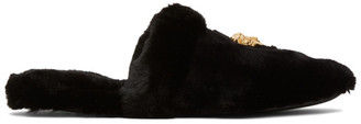 Versace Black Faux-Fur Palazzo Slippers