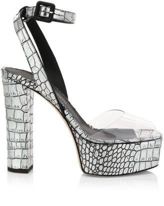 Giuseppe Zanotti Lavinia Metallic Croc-Embossed Leather & PVC Platform Sandals