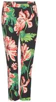 Stella McCartney Floral printed cropped crêpe trousers