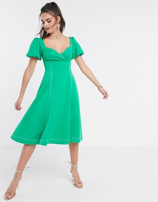 ASOS DESIGN puff sleeve prom midi dress with contrast topstitch in green