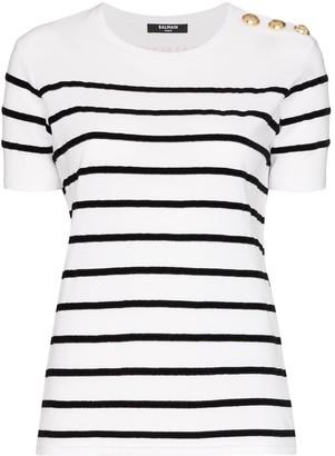 Balmain striped button shoulder T-shirt