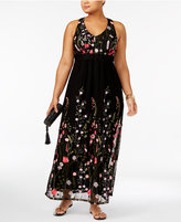 INC International Concepts Plus Size Embroidered Maxi Dress, Created for Macy's